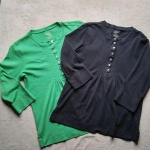 L.L.Bean 3/4 Sleeve V-neck Cotton Top, Bundle of 2